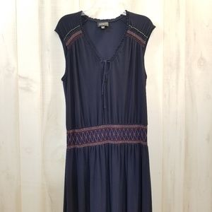 Adrianna Papell Navy Blue Smock Waist Dress Sz 14